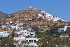 Amazing Panorama of Chora town in Ios Island, Greece Stock Photos