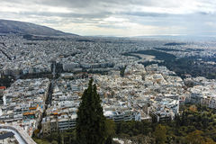 Amazing panorama of the city of Athens from Lycabettus hill Royalty Free Stock Images