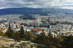 Amazing panorama of the city of Athens from Lycabettus hill Stock Photos