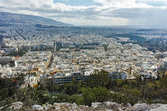 Amazing panorama of the city of Athens from Lycabettus hill Royalty Free Stock Photography