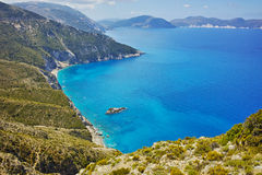 Amazing panorama of coast and blue waters of Kefalonia Royalty Free Stock Photography