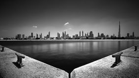 Amazing panorama of Dubai Jumeirah Beach, Dubai, United Arab Emirates. Amazing panorama reflection of Dubai Jumeirah Beach, Dubai, United Arab Emirates royalty free stock photos