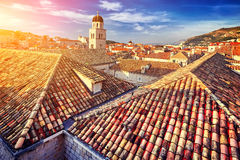 Amazing panorama Dubrovnik Old Town roofs at sunset. Croatia Royalty Free Stock Images