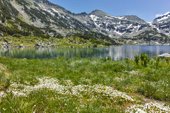 Amazing Panorama of Dzhano peak and Popovo lake, Pirin Mountain Royalty Free Stock Image