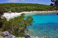 Amazing panorama of Emblisi Fiskardo Beach. Kefalonia, Ionian islands, Greece Royalty Free Stock Photography