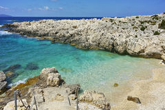 Amazing panorama of Emblisi Fiskardo Beach, Kefalonia Royalty Free Stock Photography