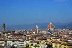 Amazing panorama of Florence with Cathedral of Santa Maria del Fiore, Palazzo Vecchio Palace and Ponte Vecchio Bridge Royalty Free Stock Photos