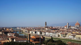 Amazing panorama of Florence with Cathedral of Santa Maria del Fiore, Palazzo Vecchio Palace and Ponte Vecchio Bridge Stock Photos