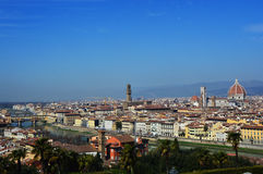 Amazing panorama of Florence with Cathedral of Santa Maria del Fiore, Palazzo Vecchio Palace and Ponte Vecchio Bridge Royalty Free Stock Images