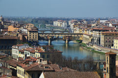 Amazing panorama of Florence with Ponte Vecchio bridge in the middle of picture, in a sunny day, Florence, Italy. FLORENCE, ITALY: Amazing panorama of Florence Royalty Free Stock Images
