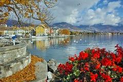 Amazing Panorama with flowers of Vevey Stock Photo