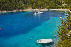 Amazing panorama of Foki Fiskardo Beach, Kefalonia Stock Photography