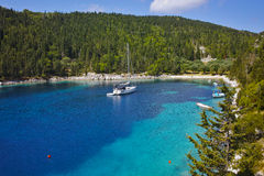 Amazing panorama of Foki Fiskardo Beach, Kefalonia Royalty Free Stock Image