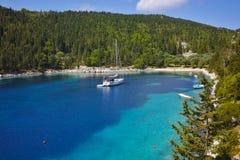 Amazing panorama of Foki Fiskardo Beach, Kefalonia. Ionian islands, Greece royalty free stock image