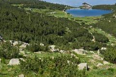 Amazing Panorama with Green hills around Bezbog lake, Pirin Mountain Stock Image