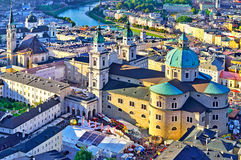 Amazing panorama of the historic city of Salzburg in beautiful e Stock Image