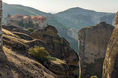 Amazing Panorama of  Holy Monastery of Varlaam in Meteora, Greece Royalty Free Stock Photos