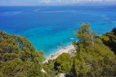 Amazing panorama of Kokkinos Vrachos Beach, Lefkada, Ionian Islands Royalty Free Stock Image