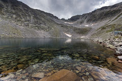 Amazing panorama of Ledenoto (Ice) Lake and clouds over Musala Peak, Rila mountain Stock Image