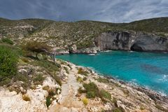 Panorama of Limnionas beach at Zakynthos island, Greece Stock Images