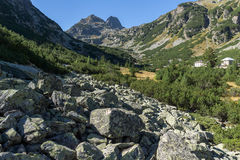 Amazing Panorama of Malyovishka river Valley and Malyovitsa peak, Rila Mountain Stock Image
