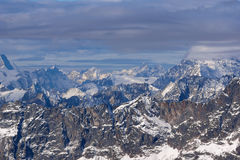 Amazing panorama from matterhorn glacier paradise to Alps Stock Photos