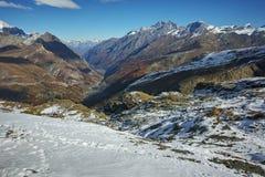 Amazing panorama from matterhorn glacier paradise to Zermatt, Switzerland Stock Photo