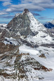 Amazing panorama of mount Matterhorn covered with clouds, Canton of Valais, Alps Royalty Free Stock Photography