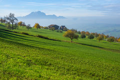 Amazing Panorama of Mount Pilatus and Lake Lucerne covered with frog, Alps Royalty Free Stock Image