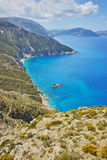Amazing panorama of mountains and coastline of Kefalonia, Greece Royalty Free Stock Photos