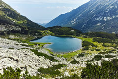 Amazing Panorama of Muratovo lake, Pirin Mountain Royalty Free Stock Images