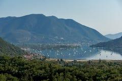 Amazing panorama of Nidri Bay, Lefkada, Greece Royalty Free Stock Photos