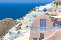 Amazing panorama of Oia village on island of Santorini Royalty Free Stock Photos