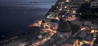 Amazing panorama of Positano town by night stock photos