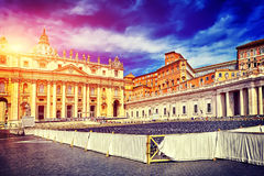 Amazing panorama Saint Peter Square and Saint Peter Basilica at sunset, Vatican City, Rome, Italy Stock Images