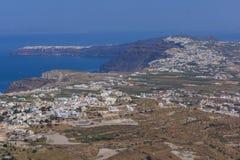 Amazing panorama of Santorini island, Thira, Greece Stock Photos