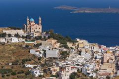Amazing Panorama to Orthodox Anastaseos church, Ermopoli, Syros, Greece Stock Images
