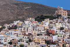 Amazing Panorama to town of Ermopoli, Syros, Islands, Greece Stock Photo