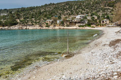 Amazing Panorama to village and beach of Aliki,Thassos island,  Greece Royalty Free Stock Image