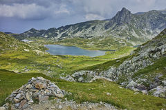 Amazing panorama of The Twin lake, The Seven Rila Lakes Royalty Free Stock Photo
