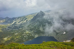 Amazing panorama of The Twin lake, The Seven Rila Lakes Royalty Free Stock Images