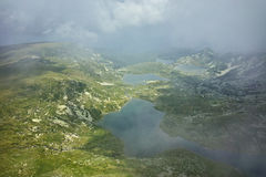 Amazing panorama of The Twin lake, The Seven Rila Lakes Royalty Free Stock Image