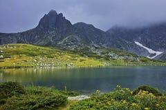 Amazing panorama of The Twin lake, The Seven Rila Lakes Royalty Free Stock Photo