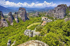 Amazing panorama on the valley of the monasteries of Meteora, Gr. The Amazing panorama on the valley of the monasteries of Meteora, Greece Stock Photo