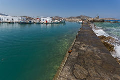 Amazing Panorama of Venetian fortress and port in Naoussa town, Paros island, Greece Stock Photography