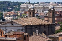 Amazing Panorama from Viale del Belvedere to city of Rome, Italy royalty free stock photos