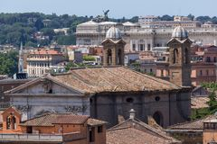 Amazing Panorama from Viale del Belvedere to city of Rome, Italy royalty free stock images