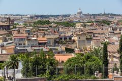 Amazing Panorama from Viale del Belvedere to city of Rome, Italy stock photos