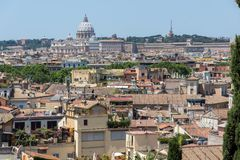Amazing Panorama from Viale del Belvedere to city of Rome, Italy stock images