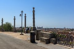 Amazing Panorama from Viale del Belvedere to city of Rome, Italy stock photo